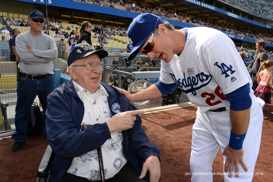 Los Angeles Dodgers Hero of the Game, Retired US Navy Fire Controlman, Lauren Bruner meets Chase Utley prior to game against the St. Louis Cardinals Sunday, May 15, 2016 at Dodger Stadium in Los Angeles, California.  Jon SooHoo/©Los Angeles Dodgers,LLC 2016