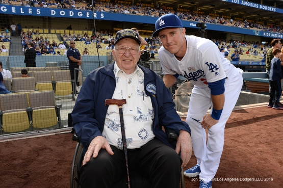 Los Angeles Dodgers Hero of the Game, Retired US Navy Fire Controlman, Lauren Bruner poses with Chase Utley prior to game against the St. Louis Cardinals Sunday, May 15, 2016 at Dodger Stadium in Los Angeles, California.  Jon SooHoo/©Los Angeles Dodgers,LLC 2016