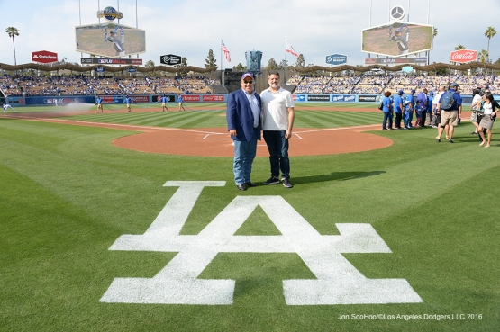 Los Angeles Dodgers Bobby Patton and guest pose prior to game against the St. Louis Cardinals Sunday, May 15, 2016 at Dodger Stadium in Los Angeles, California.  Jon SooHoo/©Los Angeles Dodgers,LLC 2016