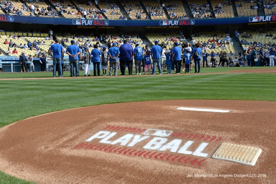 PLAY BALL kids get honored prior to game against the St. Louis Cardinals Sunday, May 15, 2016 at Dodger Stadium in Los Angeles, California.  Jon SooHoo/©Los Angeles Dodgers,LLC 2016