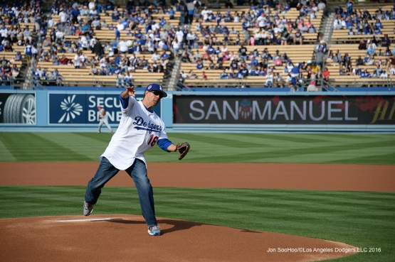 Vince Duro throws out first pitch before  Los Angeles Dodgers game against the St. Louis Cardinals Sunday, May 15, 2016 at Dodger Stadium in Los Angeles, California.  Jon SooHoo/©Los Angeles Dodgers,LLC 2016