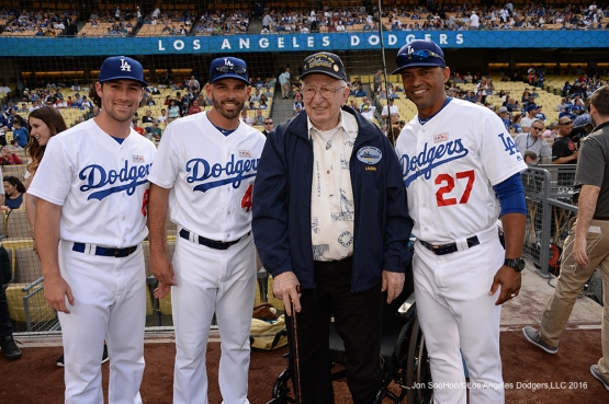 Los Angeles Dodgers Hero of the Game, Retired US Navy Fire Controlman, Lauren Bruner poses with the Dodgers prior to game against the St. Louis Cardinals Sunday, May 15, 2016 at Dodger Stadium in Los Angeles, California.  Jon SooHoo/©Los Angeles Dodgers,LLC 2016