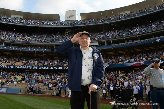 Los Angeles Dodgers Hero of the Game, Retired US Navy Fire Controlman, Lauren Bruner stands for the anthem prior to game against the St. Louis Cardinals Sunday, May 15, 2016 at Dodger Stadium in Los Angeles, California.  Jon SooHoo/©Los Angeles Dodgers,LLC 2016