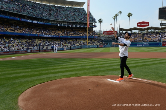 Zedd throws throws out the first pitch prior to game against the St. Louis Cardinals Sunday, May 15, 2016 at Dodger Stadium in Los Angeles, California.  Jon SooHoo/©Los Angeles Dodgers,LLC 2016