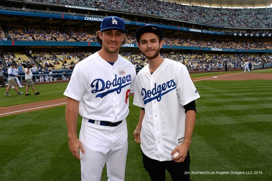 Zedd poses with Charlie Culberson prior to game against the St. Louis Cardinals Sunday, May 15, 2016 at Dodger Stadium in Los Angeles, California.  Jon SooHoo/©Los Angeles Dodgers,LLC 2016