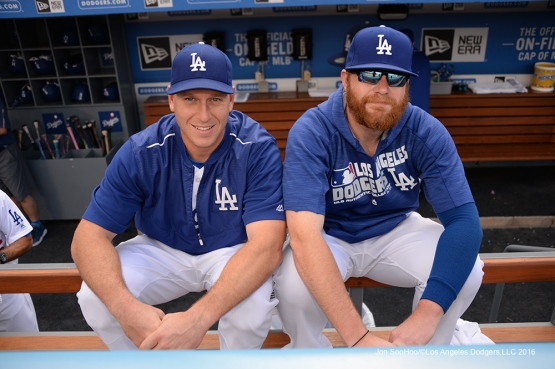 Los Angeles Dodgers A.J. Ellis and Brett Anderson prior to game against the St. Louis Cardinals Sunday, May 15, 2016 at Dodger Stadium in Los Angeles, California.  Jon SooHoo/©Los Angeles Dodgers,LLC 2016