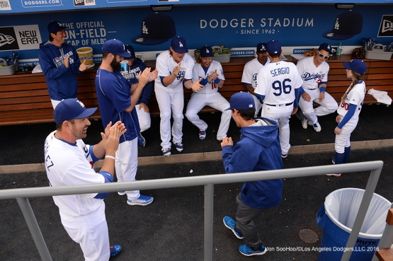 Los Angeles Dodgers prior to game against the St. Louis Cardinals Sunday, May 15, 2016 at Dodger Stadium in Los Angeles, California.  Jon SooHoo/©Los Angeles Dodgers,LLC 2016