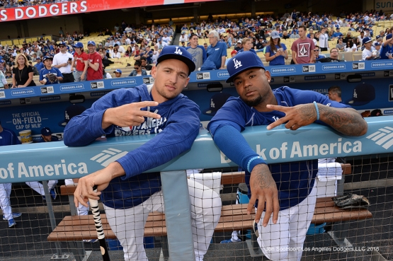 Trayce Thompson and Carl Crawford prior to game against the St. Louis Cardinals Sunday, May 15, 2016 at Dodger Stadium in Los Angeles, California.  Jon SooHoo/©Los Angeles Dodgers,LLC 2016
