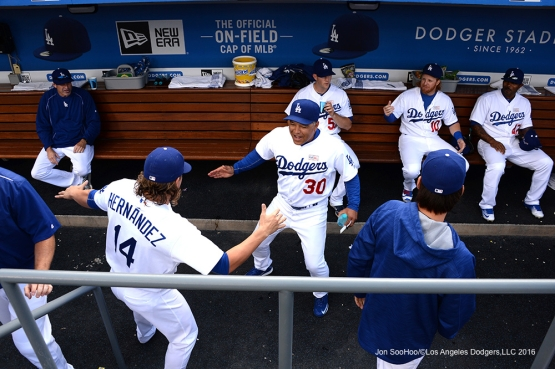 Los Angeles Dodgers Dave Roberts in the dugout prior to game against the St. Louis Cardinals Sunday, May 15, 2016 at Dodger Stadium in Los Angeles, California.  Jon SooHoo/©Los Angeles Dodgers,LLC 2016