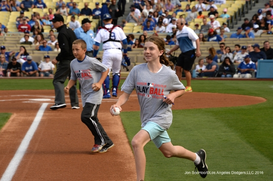 PLAYBALL Kids take the field  prior to game against the St. Louis Cardinals Sunday, May 15, 2016 at Dodger Stadium in Los Angeles, California.  Jon SooHoo/©Los Angeles Dodgers,LLC 2016