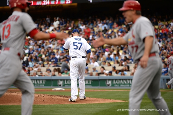 Alex Wood against the St. Louis Cardinals Sunday, May 15, 2016 at Dodger Stadium in Los Angeles, California.  Jon SooHoo/©Los Angeles Dodgers,LLC 2016