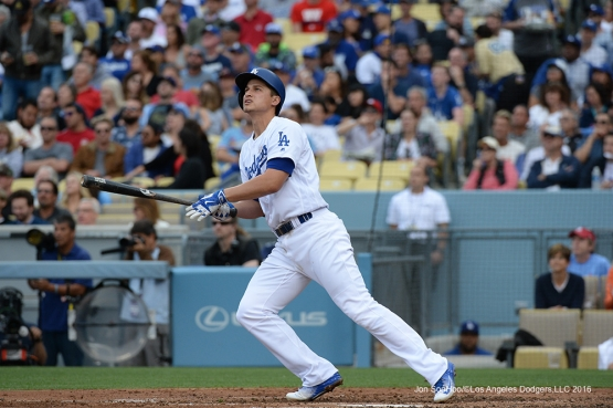 Cory Seager's first home run of the game against the St. Louis Cardinals Sunday, May 15, 2016 at Dodger Stadium in Los Angeles, California.  Jon SooHoo/©Los Angeles Dodgers,LLC 2016