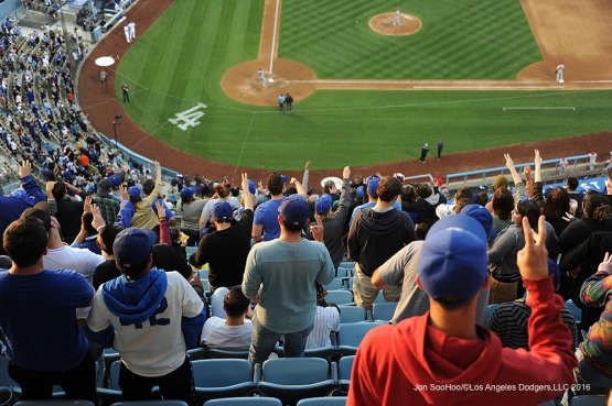 "Fans sing ""Take Me Out to the Ballgame""  Sunday, May 15, 2016 at Dodger Stadium in Los Angeles, California.  Jon SooHoo/©Los Angeles Dodgers,LLC 2016"