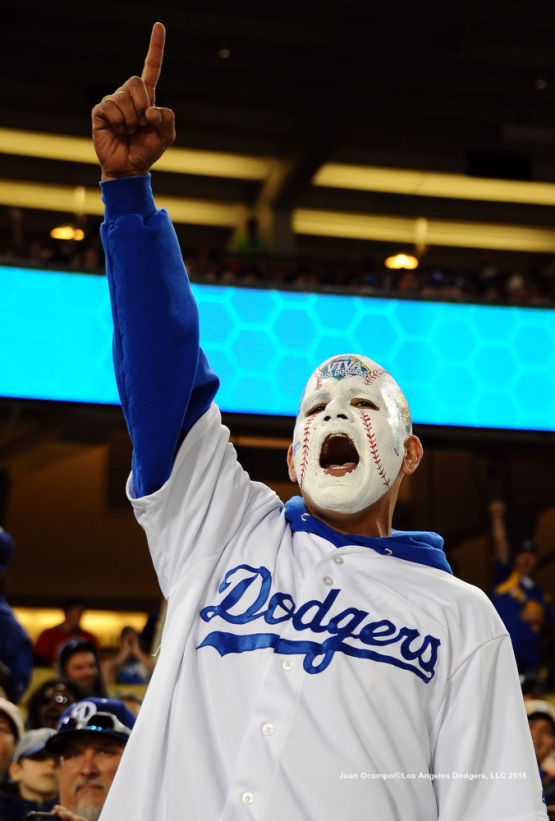 A Dodgers fan shows his support.