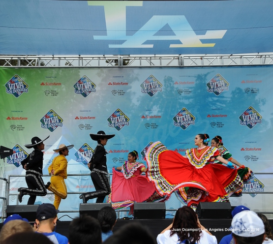 Ballet Folklorico Resurrection performs at Viva Los Dodgers.