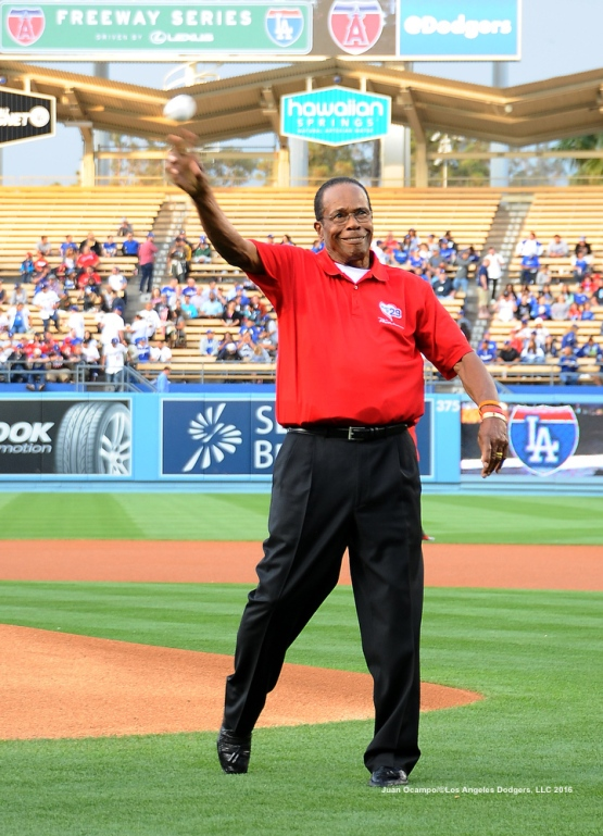 Baseball Hall of Famer, Rod Carew, throws out the ceremonial first pitch.