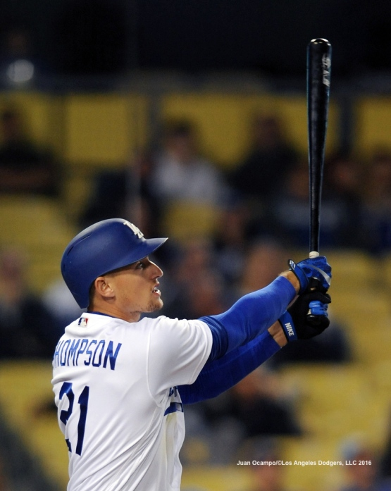 Trayce Thompson hits his second homer of the game in the eighth inning.