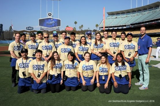 Dodgers Foundation 50/50 sellers pose prior to game against the Los Angeles Angels of Anaheim Tuesday, May 17, 2016 at Dodger Stadium in Los Angeles, California.  Jon SooHoo/©Los Angeles Dodgers,LLC 2016