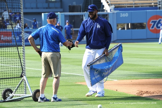 Los Angeles Dodgers Kenley Jansen drags the infield prior to game against the Los Angeles Angels of Anaheim Tuesday, May 17, 2016 at Dodger Stadium in Los Angeles, California.  Jon SooHoo/©Los Angeles Dodgers,LLC 2016