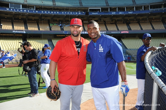 Yasiel Puig and Albert Pujols pose prior to game against the Los Angeles Angels of Anaheim Tuesday, May 17, 2016 at Dodger Stadium in Los Angeles, California.  Jon SooHoo/©Los Angeles Dodgers,LLC 2016