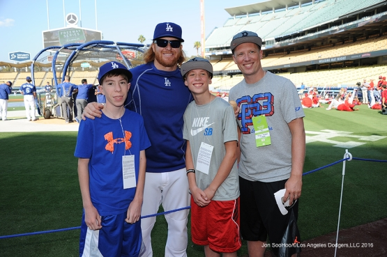 Justin Turner and guests pose prior to game against the Los Angeles Angels of Anaheim Tuesday, May 17, 2016 at Dodger Stadium in Los Angeles, California.  Jon SooHoo/©Los Angeles Dodgers,LLC 2016