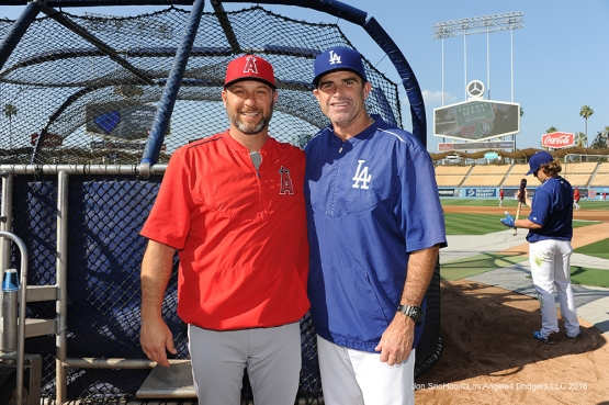Dave Hansen and Turner Ward pose prior to game against the Los Angeles Angels of Anaheim Tuesday, May 17, 2016 at Dodger Stadium in Los Angeles, California.  Jon SooHoo/©Los Angeles Dodgers,LLC 2016