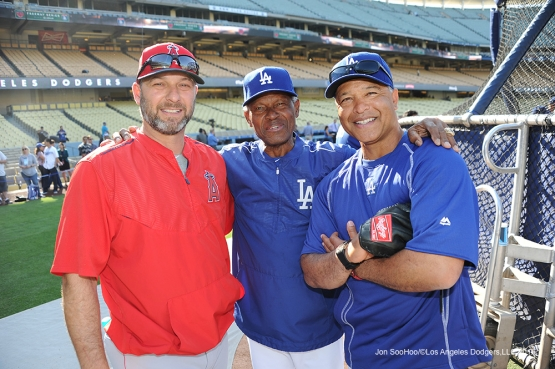 Dave Hansen, Manny Mota and Dave Roberts pose prior to game against the Los Angeles Angels of Anaheim Tuesday, May 17, 2016 at Dodger Stadium in Los Angeles, California.  Jon SooHoo/©Los Angeles Dodgers,LLC 2016