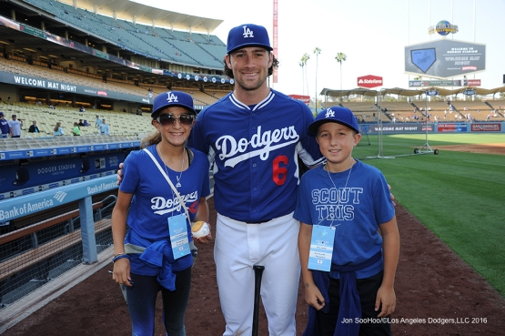 Charlie Culberson and Los Angeles Dodger fans pose prior to game against the Los Angeles Angels of Anaheim Tuesday, May 17, 2016 at Dodger Stadium in Los Angeles, California.  Jon SooHoo/©Los Angeles Dodgers,LLC 2016