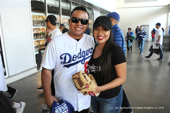 GREAT Los Angeles Dodger fans pose prior to game against the Los Angeles Angels of Anaheim Tuesday, May 17, 2016 at Dodger Stadium in Los Angeles, California.  Jon SooHoo/©Los Angeles Dodgers,LLC 2016