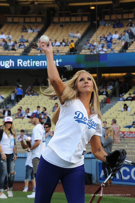 ET's Nancy O'dell warms up prior to game against the Los Angeles Angels of Anaheim Tuesday, May 17, 2016 at Dodger Stadium in Los Angeles, California.  Jon SooHoo/©Los Angeles Dodgers,LLC 2016