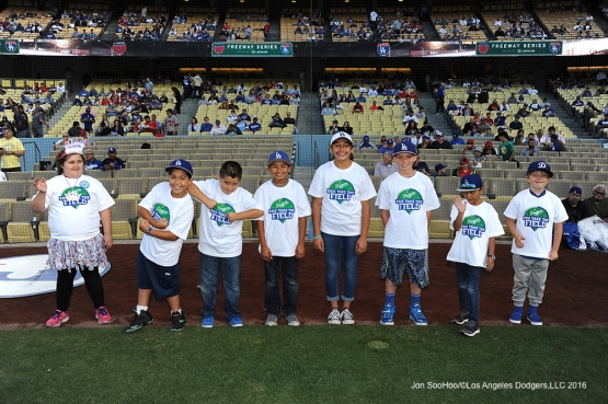 Los Angeles Dodgers Kids Taking the Field pose prior to game against the Los Angeles Angels of Anaheim Tuesday, May 17, 2016 at Dodger Stadium in Los Angeles, California.  Jon SooHoo/©Los Angeles Dodgers,LLC 2016