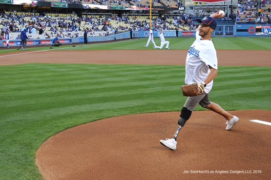 2014 U.S. Paralympic Silver Medalist Mike Shea throws out the first pitch prior to game against the Los Angeles Angels of Anaheim Tuesday, May 17, 2016 at Dodger Stadium in Los Angeles, California.  Jon SooHoo/©Los Angeles Dodgers,LLC 2016