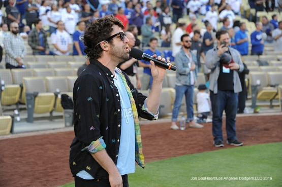 Elliott Yamin sings the anthem prior to game against the Los Angeles Angels of Anaheim Tuesday, May 17, 2016 at Dodger Stadium in Los Angeles, California.  Jon SooHoo/©Los Angeles Dodgers,LLC 2016