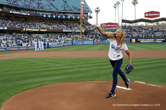 Nancy O'dell throws out the first pitch prior to game against the Los Angeles Angels of Anaheim Tuesday, May 17, 2016 at Dodger Stadium in Los Angeles, California.  Jon SooHoo/©Los Angeles Dodgers,LLC 2016