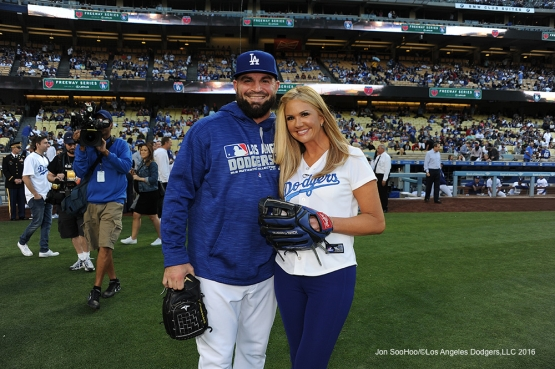Nancy O'dell poses with Adam Liberatore prior to game against the Los Angeles Angels of Anaheim Tuesday, May 17, 2016 at Dodger Stadium in Los Angeles, California.  Jon SooHoo/©Los Angeles Dodgers,LLC 2016