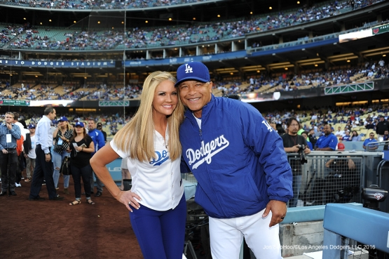 Nancy O'dell poses with Dave Roberts prior to game against the Los Angeles Angels of Anaheim Tuesday, May 17, 2016 at Dodger Stadium in Los Angeles, California.  Jon SooHoo/©Los Angeles Dodgers,LLC 2016