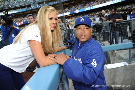Nancy O'dell with Dave Roberts prior to game against the Los Angeles Angels of Anaheim Tuesday, May 17, 2016 at Dodger Stadium in Los Angeles, California.  Jon SooHoo/©Los Angeles Dodgers,LLC 2016