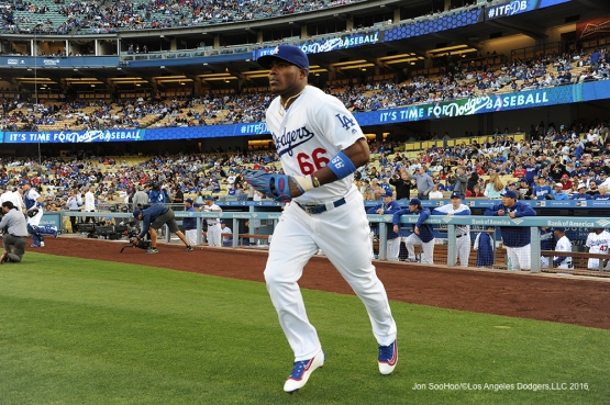 Los Angeles Dodgers Yasiel Puig takes the field for game against the Los Angeles Angels of Anaheim Tuesday, May 17, 2016 at Dodger Stadium in Los Angeles, California.  Jon SooHoo/©Los Angeles Dodgers,LLC 2016