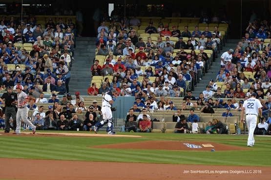 Los Angeles Dodgers Clayton Kershaw strikes out Los Angeles Angels of Anaheim Mike Trout in the first inning Tuesday, May 17, 2016 at Dodger Stadium in Los Angeles, California.  Jon SooHoo/©Los Angeles Dodgers,LLC 2016