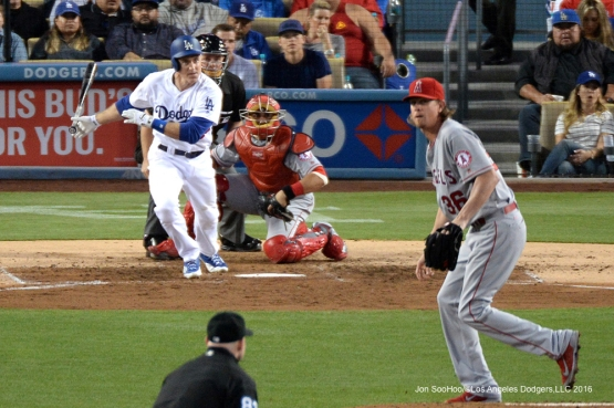 Los Angeles Dodgers Chase Utley singles during game against the Los Angeles Angels of Anaheim Tuesday, May 17, 2016 at Dodger Stadium in Los Angeles, California.  Jon SooHoo/©Los Angeles Dodgers,LLC 2016