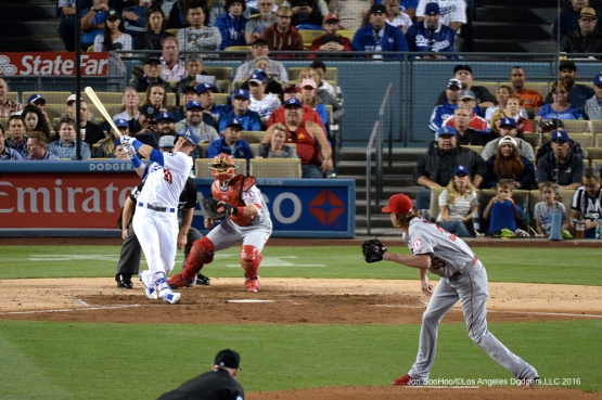 Los Angeles Dodgers Joc Pederson launches home run against the Los Angeles Angels of Anaheim Tuesday, May 17, 2016 at Dodger Stadium in Los Angeles, California.  Jon SooHoo/©Los Angeles Dodgers,LLC 2016