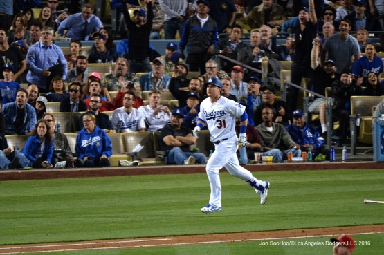Los Angeles Dodgers Joc Pederson watches home run against the Los Angeles Angels of Anaheim Tuesday, May 17, 2016 at Dodger Stadium in Los Angeles, California.  Jon SooHoo/©Los Angeles Dodgers,LLC 2016
