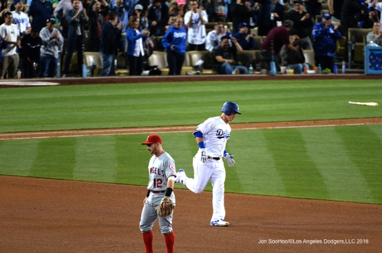Los Angeles Dodgers Joc Pederson runs the bases during home run against the Los Angeles Angels of Anaheim Tuesday, May 17, 2016 at Dodger Stadium in Los Angeles, California.  Jon SooHoo/©Los Angeles Dodgers,LLC 2016