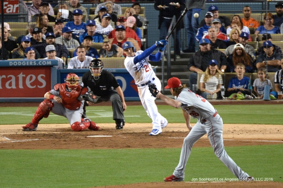 Los Angeles Dodgers Trayce Thompson singles  against the Los Angeles Angels of Anaheim Tuesday, May 17, 2016 at Dodger Stadium in Los Angeles, California.  Jon SooHoo/©Los Angeles Dodgers,LLC 2016