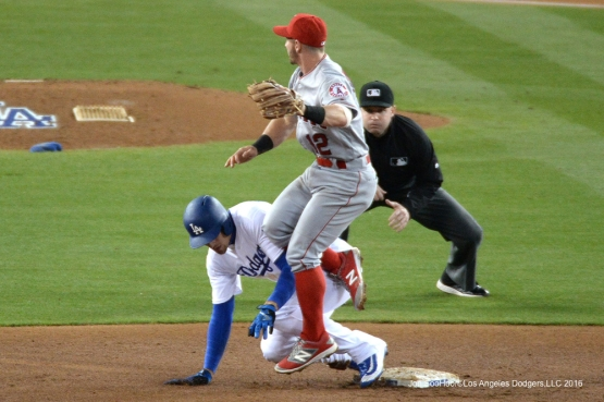 Los Angeles Dodgers Trayce Thompson slides into second during game against the Los Angeles Angels of Anaheim Tuesday, May 17, 2016 at Dodger Stadium in Los Angeles, California.  Jon SooHoo/©Los Angeles Dodgers,LLC 2016