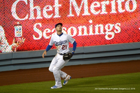 Los Angeles Dodgers Trayce Thompson prepares for ball against the Los Angeles Angels of Anaheim Tuesday, May 17, 2016 at Dodger Stadium in Los Angeles, California.  Jon SooHoo/©Los Angeles Dodgers,LLC 2016