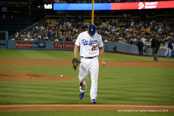 Los Angeles Dodgers Clayton Kershaw comes in after the 8th against the Los Angeles Angels of Anaheim Tuesday, May 17, 2016 at Dodger Stadium in Los Angeles, California.  Jon SooHoo/©Los Angeles Dodgers,LLC 2016