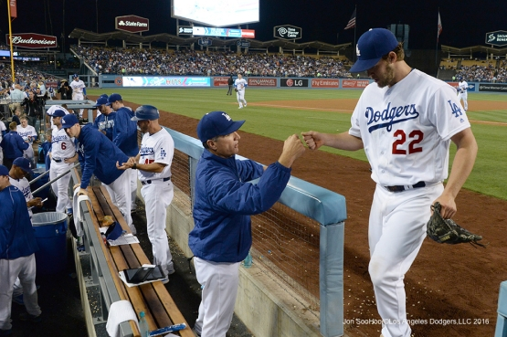 Los Angeles Dodgers Clayton Kershaw is greeted after coming out in the 8th inning against the Los Angeles Angels of Anaheim Tuesday, May 17, 2016 at Dodger Stadium in Los Angeles, California.  Jon SooHoo/©Los Angeles Dodgers,LLC 2016