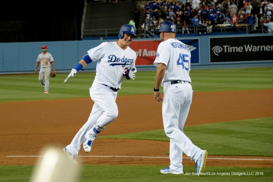 Los Angeles Dodgers Joc Pederson heads home after homering against the Los Angeles Angels of Anaheim Tuesday, May 17, 2016 at Dodger Stadium in Los Angeles, California.  Jon SooHoo/©Los Angeles Dodgers,LLC 2016