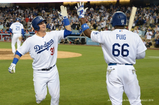 Los Angeles Dodgers Joc Pederson celebrates after home run against the Los Angeles Angels of Anaheim Tuesday, May 17, 2016 at Dodger Stadium in Los Angeles, California.  Jon SooHoo/©Los Angeles Dodgers,LLC 2016
